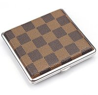 Wholesale Personalized Plaid Pattern Leather Cigarette Cases Fashion Brown Cases for Cigars Best Gift for Smokers