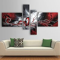 abstract flow - 4Pcs Hand painted Oil Painting Set Modern Abstract Oil Picture Wonderful Home Decoration Painting with Flowing Lines Pattern H16133