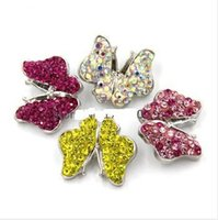 Wholesale 4pcs Mixed butterfly snap button colorful rhinestones snap button for snap jewelry