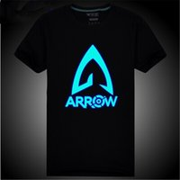 Wholesale new arrival green arrow tee shirts green arrow tshirt anime cosplay clothes cute boys clothes glow in the dark tops DC748