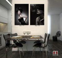 beauty salon posters - Beauty Women Painting Canvas Piece Wall Decor Art Murals For Bar Salon Posters Drawing Bedroom Decoration Black Artwork Modern