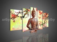 art bistro - Panel Wall Art Religion happly Buddha Oil Painting On Canvas Paintings Contemporary Bistro Tables For Home Modern Decoratio Hand