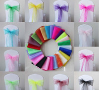 Wholesale Organza Wedding Chairback Decorations Party Banquet Decor Bow Colourful Ribbon Chairs Decor