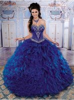 Cheap Wow !! 2015 New Corset Quinceanera Dresses With Sweetheart Neck Crystal Beaded Blue Organza Sweet 16 15 Birthday Party Prom Ball Gowns