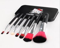 cosmetic black up - 1 box with makeup brush in it Professional Pink Hello Kitty Cosmetic Makeup Brush Kit Pouch Bag Case tools make up brushes