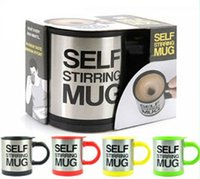 automatic blow - 2016 NEW Automatic coffee mixing cup mug blew stainless steel self stirring electric coffee mug ml colors BY DHL