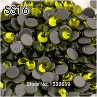 Wholesale 1440pcs Glue Base Olivine Flatback Rhinestones Hotfix Crystal SS16