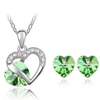 Wholesale Loved Heart Jewelry Set Genuine SWA Element Austrian Crystal Necklace Earring Set Crystal Jewelry Colors Options ST0011 B