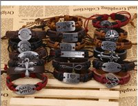 Wholesale Many styles mix a batch of metal alloys hemp cordage leather bracelet The Europe and America revive old customs a leather bracelet