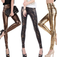 Cheap High Waist Leggings Sexy Leopard and Snake Animal Print Leggings with PU Faux Leather for New Arrival Woman Fashion 2015