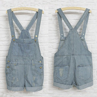 Cheap 2015 Fashion Gril Denim Rompers Strap Pockets Frayed Ripped Holes Overalls Rompers Womens Jumpsuit Shorts Jeans Light Blue