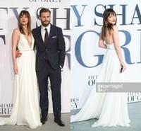 beaded shade - Hottest New Fifty Shades of Grey Dakota Johnson Gorgeous Deep V neck Ivory Chiffon Red Carpet Celebrity Dress Spaghetti Straps Evening