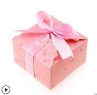 Wholesale 9 cm wedding candy boxes Bags Paper Romantic Ribbon European box pink personality wedding supplies