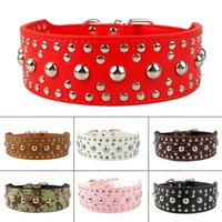"""Wholesale Studded Leather Small Dog Collar - New Style 2"""" wide Colorful Pink Studded Leather Dog Collars for more breeds"""