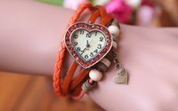 Wholesale Retro Quartz Fashion Weave Wrap Around Leather Bracelet Bangle Womens Heart Shape Girl Watch