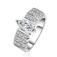 al por mayor anillo de diamante natural de oro blanco-Increíble lujo diamante anillo compromiso joyas 925 plata 18K Natural oro blanco hermoso anillo de bodas R582