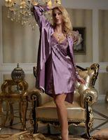 Wholesale 2016 Time limited Solid New Twinset Soft Nightgowns Women Full Sleeve V Neck Sleepwear Sexy Pijamas Modelos Femininos