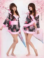 Wholesale Women Sexy Lingerie Japan Kimono Sexy Costumes With Flower Pattern For Girl