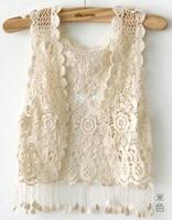 Wholesale 2015 Fashion Girl Lady Crochet Tassel Shrug Top Gilet Waistcoat Cardigan Tassel VEST