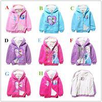 coat zippers - New Frozen elsa anna Cartoon Cotton hooded outerwear coats fleece sweatshirts girls cotton long sleeved hoodies zipper spot free DHL shippin