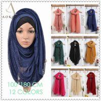 Wholesale mixed color lace hijab big size plain solid lace scarf fashion viscose cotton maxi shawls soft muslim islamic scarves