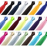 Wholesale New Style Fashion Formal Wedding Party Groom Men s Solid Color Gravata Slim Plain Men Tie Necktie Colors fedex