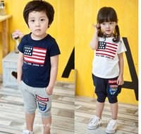 american flag t shirt - Fashion summer children outfits boys girls American flag pattern short sleeve t shirt tops half pants set kid leisure clothes A6278