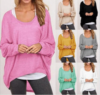 baggy sweaters - Plus Size Autumn Fall Women Irregular Baggy Knitting Sweater Casual Loose Pullover Jumper Top Hi Low Batwing Long Sleeve Poncho hight qualit