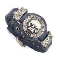 bangles design - Skull Skeleton Watch Watchband Design Adjustable Leather Charm Bracelet Bangle Punk Rock Hiphop Amulet Fashion Jewelry