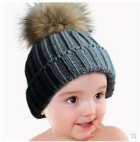 Wholesale Children Boy Girl Natural Real Raccoon Fur Animal Pom Pom Winter Warm Crochet Knit Beanie Hats Caps Kids