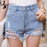 Cheap high waist ripped denim shorts women summer style jeans shorts feminino summershort trousers for woman A2