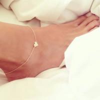 Wholesale Heart Shape Women Chain Ankle Bracelet Barefoot Sandal Beach Foot Jewelry