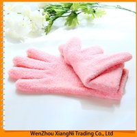Wholesale 2015 Pair Brand New Soft For Bautiful Hand Whitening Exfoliator Moisturizing Treatment Gel Spa Gloves Guantes Handschuh order lt no track