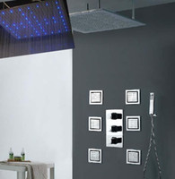 Wholesale 40 inches luxury wall mounted rainfall shower with inches body shower jets led rainfall shower set