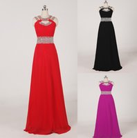 Wholesale 2015 Christmas High Quality In Stock Rose Red Black Chiffon Evening Dresses Crystal Halter Split Side Cocktail Prom Dresses Back With Zipper
