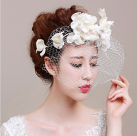 acrylic bird cages - New Fashionable White Birdal Veil Adoration Bridal Hats With Veil bird Cage Veils Sinamay Hats For Church Handmade Flowers ZYY