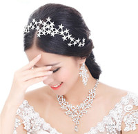 Wholesale 2015 Vintage Wedding Bridal Prom Women Silver Crystal Rhinestone Stars Headband Crowns Hair Accessories Tiara Necklace Earrings Jewelry Set