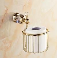 bathroom toilet rack - Newly Solid Brass Golden Crystal Toilet Paper Holder Roll Tissue Basket Paper Rack Shelf Wall Mount Bathroom Accessories
