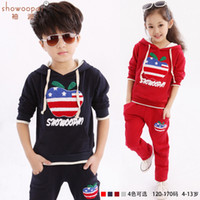 Wholesale Clothes For Kids Girls School - Clothing Set For Boys Girls 2015 New Summer The Small Apple Children School Uniforms Custom Pure Cotton Kids Suit 4 Color G25
