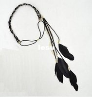 artificial feathers - New Arrive Hippie Feather Leaf Hairband Tassels Weave Headband Elastic Headdress