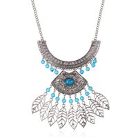 Wholesale Europe and exaggerated retro gem hollow bead necklace texture leaves leaf pendant tassel sweater chain