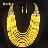 Wholesale African Style Beads Tassel Chains Necklaces Matching Drop Earrings Jewelry Set for Women Statement Jewelry Bijoux