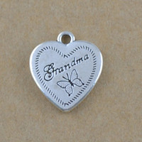 Wholesale 50Pcs Beautiful Butterfly Charm Engraved Letter Grandma On Heart Charm Jewelry