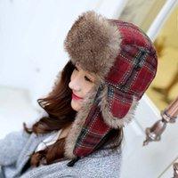Wholesale Cute Warm Women Trappers Hats - Wholesale-2015 Four Colors Available Cotton Plaid Winter Women Cute Warm Fur Russian Hats Ear Flaps Bomber Caps Trapper Hat Aviator hat