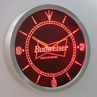 other bar wall clock - nc0472 Budweiser LUMINOVA Neon Sign Bar Beer Decor LED Wall Clock Dropshipping