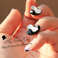acrylic photo art - Crystal bow false nails tips for sale acrylic false nails art decoration display photo bridal nails patch