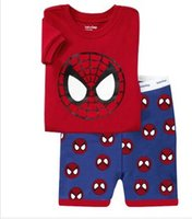 Wholesale boys girls Spider man Pyjamas kids pyjamas sets spiderman baby pajamas sleepwear short sleeve children cute pajamas CY3065