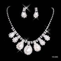 bridal necklace - Cheap Elegant Jewelry Wedding Bridal Party pearl Rhinestone necklace earring set