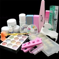acrylic duck nails - Nail Kit Acrylic Powder Glitter Dust Decoration Set Brush Nail Tips Manicure Kit with Duck Nail Tips