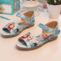 PU childrens shoes - Frozen Sandal Children Sandals Kids Footwear Girls Sandals Childrens Shoes Summer Kids Leather Shoes Girl Shoes C3901 Elsa star_baby